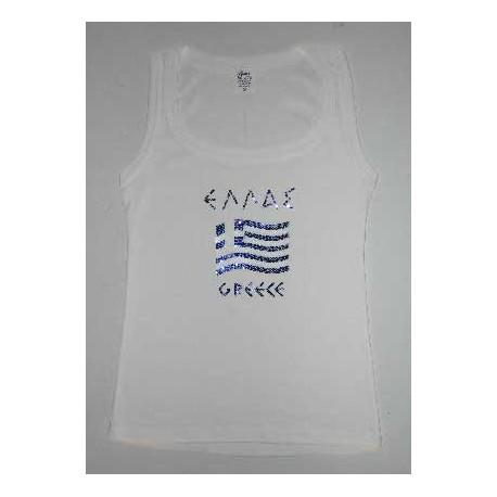 GREEK FLAG SLEEVELESS T SHIRT