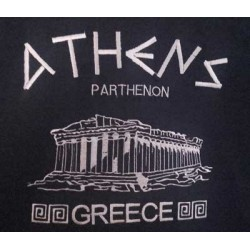 T SHIRT WITH EMBROIDERED PARTHENON