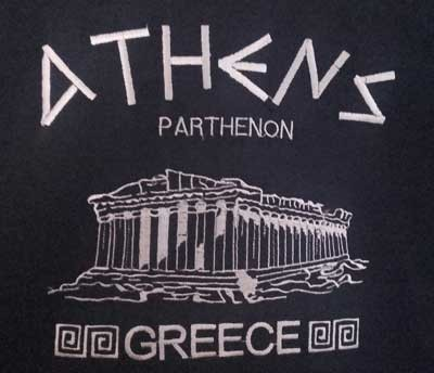 T SHIRT WITH EMBROIDERED PARTHENON 1fda70cf1b3