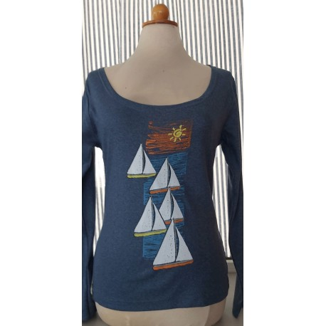 woman's t.shirt printed with yachts