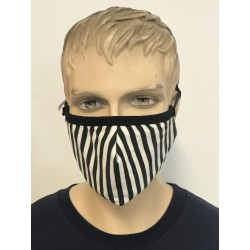 2 LAYER FACE MASK STRIPED BLACK