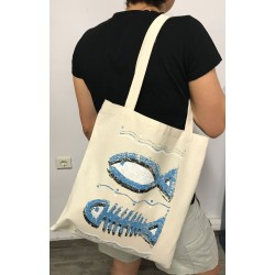Handmade Tote bag with sea fish design