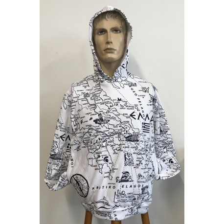 WHITE HOODIE PRINTED MAP OF GREECE